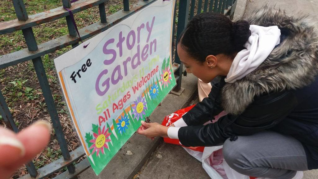 Story Garden is the name for the local Street Library. Shayla created this poster to invite children